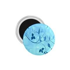 Floral Blue 1.75  Button Magnet