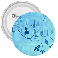 Floral Blue 3  Button