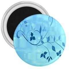 Floral Blue 3  Button Magnet