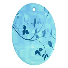 Floral Blue Oval Ornament