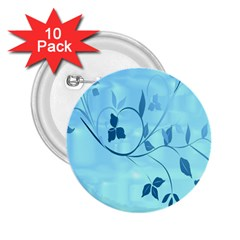Floral Blue 2.25  Button (10 pack)