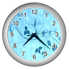Floral Blue Wall Clock (Silver)