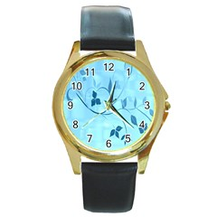 Floral Blue Round Leather Watch (Gold Rim)