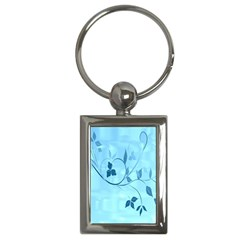 Floral Blue Key Chain (Rectangle)