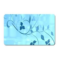 Floral Blue Magnet (Rectangular)