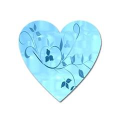 Floral Blue Magnet (heart)