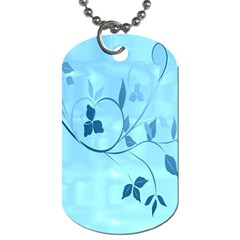 Floral Blue Dog Tag (One Sided)