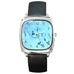 Floral Blue Square Leather Watch