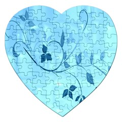 Floral Blue Jigsaw Puzzle (heart)