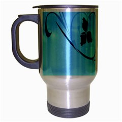 Floral Blue Travel Mug (Silver Gray)