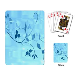 Floral Blue Playing Cards Single Design