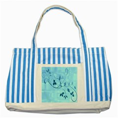 Floral Blue Blue Striped Tote Bag