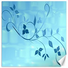 Floral Blue Canvas 12  X 12  (unframed)