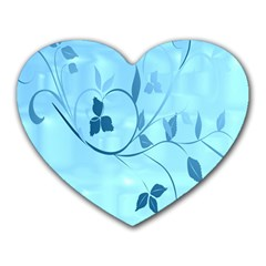 Floral Blue Mouse Pad (Heart)