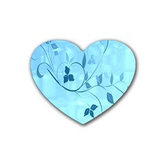 Floral Blue Drink Coasters 4 Pack (heart)