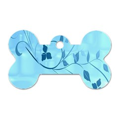 Floral Blue Dog Tag Bone (One Sided)