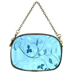 Floral Blue Chain Purse (one Side)