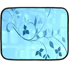 Floral Blue Mini Fleece Blanket (two Sided)