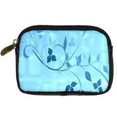 Floral Blue Digital Camera Leather Case