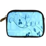 Floral Blue Digital Camera Leather Case Front