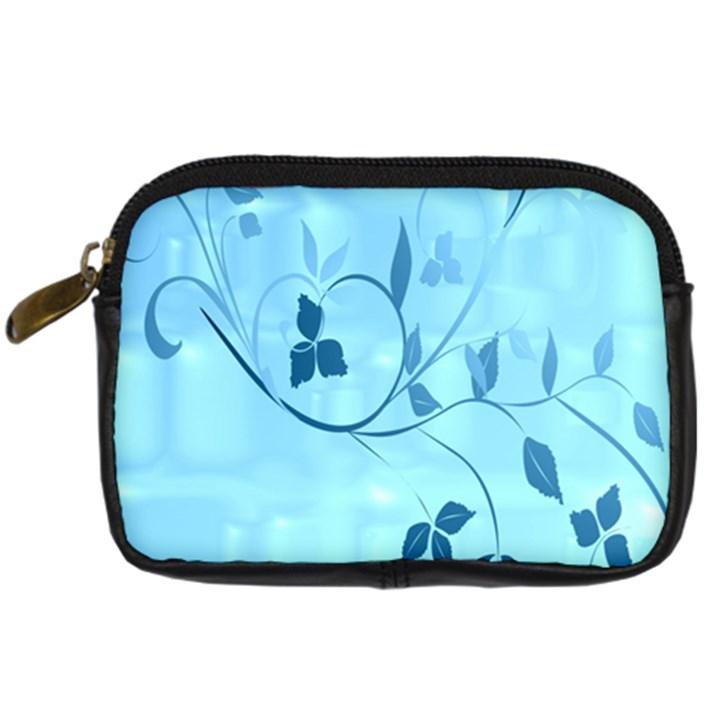 Floral Blue Digital Camera Leather Case