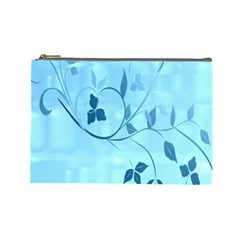 Floral Blue Cosmetic Bag (Large)