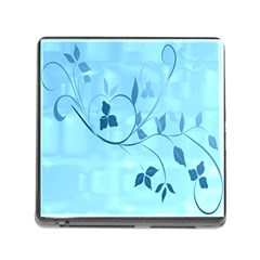 Floral Blue Memory Card Reader With Storage (square)