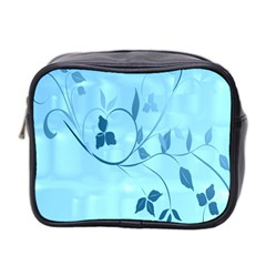 Floral Blue Mini Travel Toiletry Bag (two Sides)