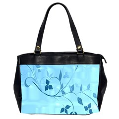 Floral Blue Oversize Office Handbag (Two Sides)