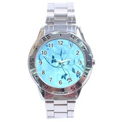 Floral Blue Stainless Steel Watch