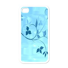 Floral Blue Apple Iphone 4 Case (white)