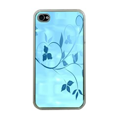 Floral Blue Apple Iphone 4 Case (clear)