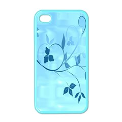 Floral Blue Apple iPhone 4 Case (Color)