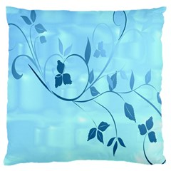 Floral Blue Large Cushion Case (single Sided)