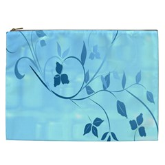 Floral Blue Cosmetic Bag (XXL)
