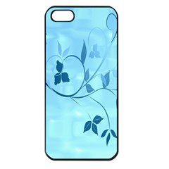 Floral Blue Apple iPhone 5 Seamless Case (Black)