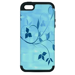 Floral Blue Apple iPhone 5 Hardshell Case (PC+Silicone)