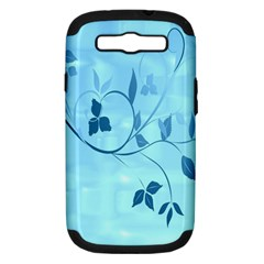 Floral Blue Samsung Galaxy S Iii Hardshell Case (pc+silicone)