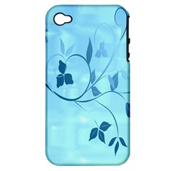Floral Blue Apple iPhone 4/4S Hardshell Case (PC+Silicone)