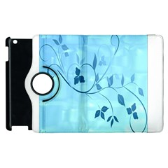 Floral Blue Apple iPad 2 Flip 360 Case