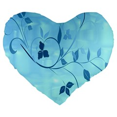 Floral Blue 19  Premium Heart Shape Cushion