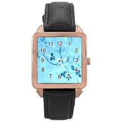 Floral Blue Rose Gold Leather Watch