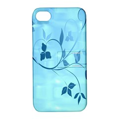 Floral Blue Apple Iphone 4/4s Hardshell Case With Stand
