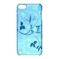 Floral Blue Apple iPod Touch 5 Hardshell Case with Stand