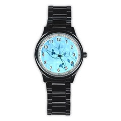 Floral Blue Sport Metal Watch (black)
