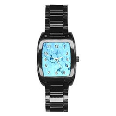 Floral Blue Stainless Steel Barrel Watch