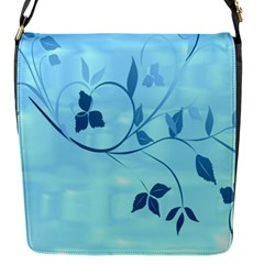 Floral Blue Flap Closure Messenger Bag (Small)