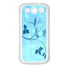 Floral Blue Samsung Galaxy S3 Back Case (White)