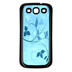 Floral Blue Samsung Galaxy S3 Back Case (black)