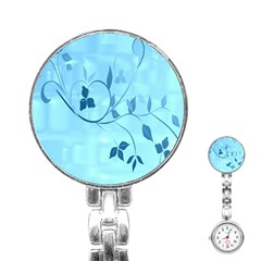 Floral Blue Stainless Steel Nurses Watch